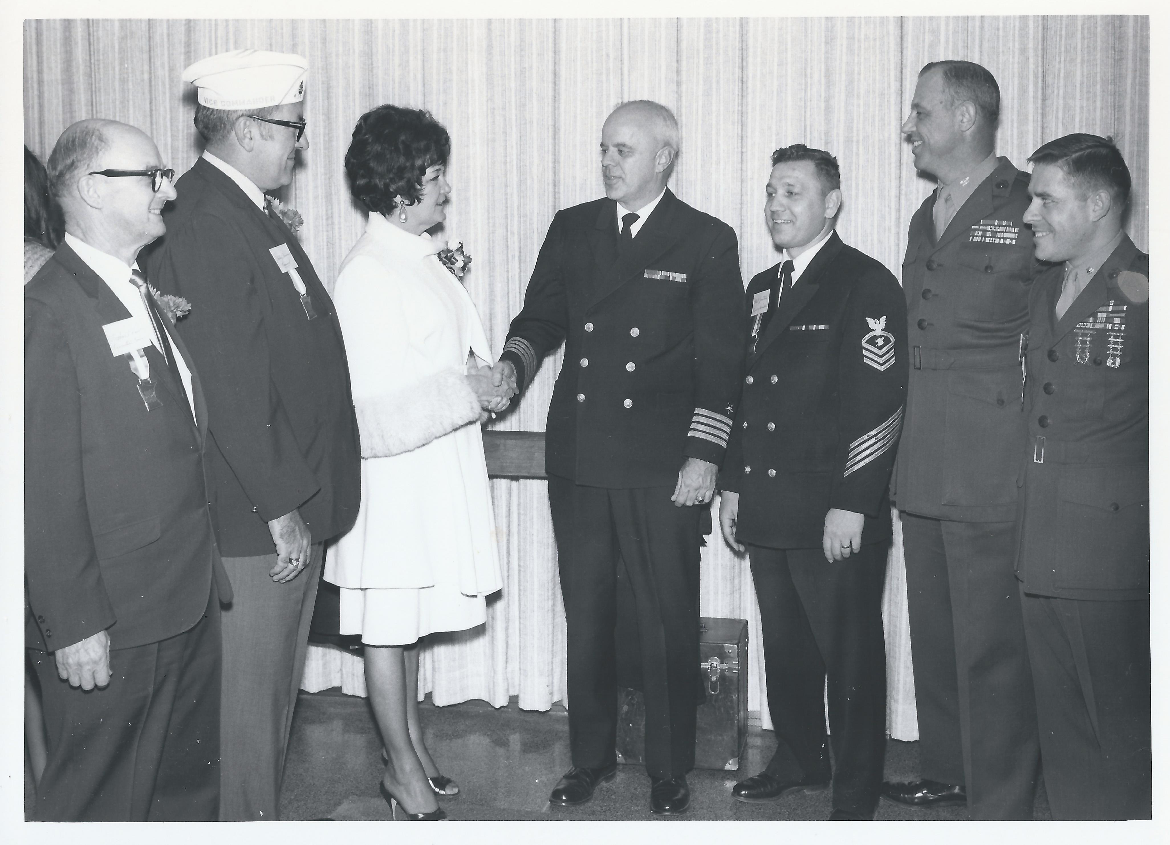 1970 Nov 22 - Opening Day Visitors(10) LtoR: Arthur Dow-BOD member, Phil Ploumen-Treas, Maggie Purdum, Capt B.B.Pererson, Nav&MarTrng, Chief Justin, Maj Brandtner