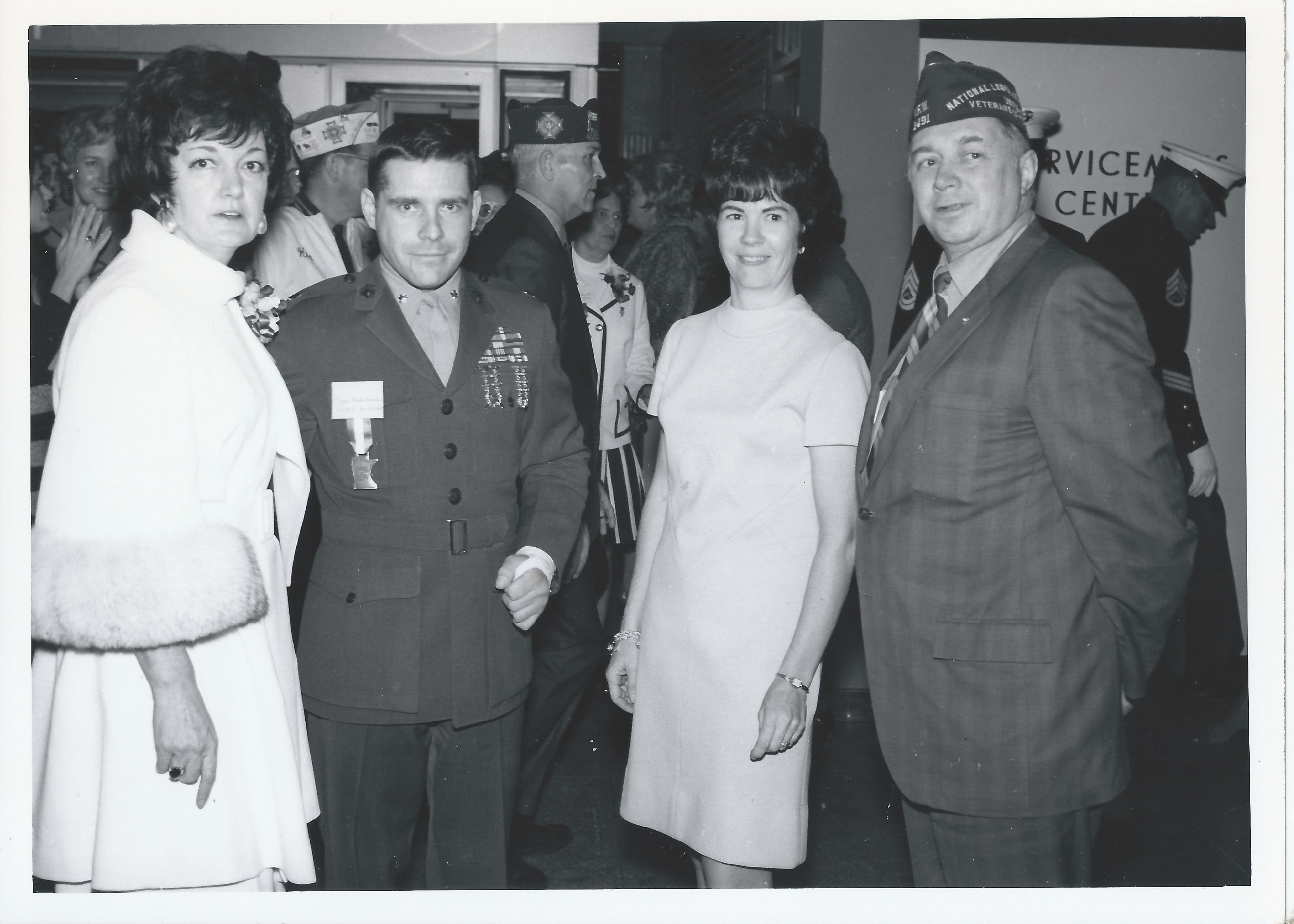 1970 Nov 22 - Opening Day Visitors(5) Maggie Purdum, Board VP Maj Marty Brandtner, Guest & Vern Anderson