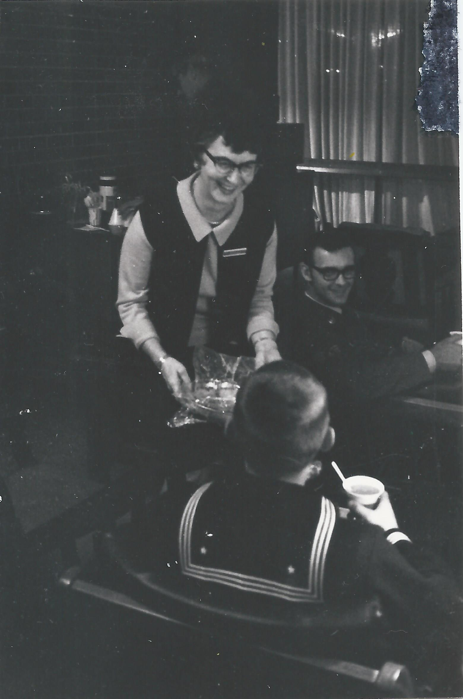 1970 Nov 22 - Opening Day, serving in lounge