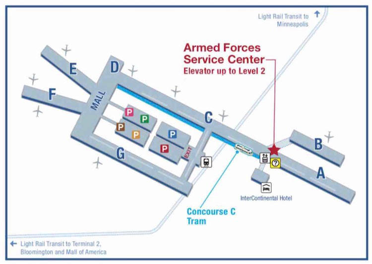 Map to the Armed Forces Service Center between Concourse C and A on the Second Level